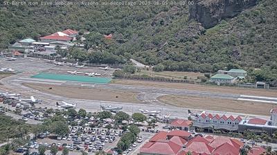 Vue webcam de jour à partir de Corossol: Aéroport Gustaf III, St Barth