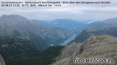 Daylight webcam view from Königssee: Funtenseetauern − Nationalpark Berchtesgaden − Blick über den − nach Norden