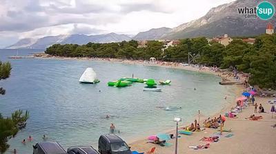 Vista de cámara web de luz diurna desde Baška Voda: Promajna − beach, Baska Voda