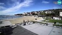 Piran: Webcam Portoro? beach - Karamela beach bar - Overdag