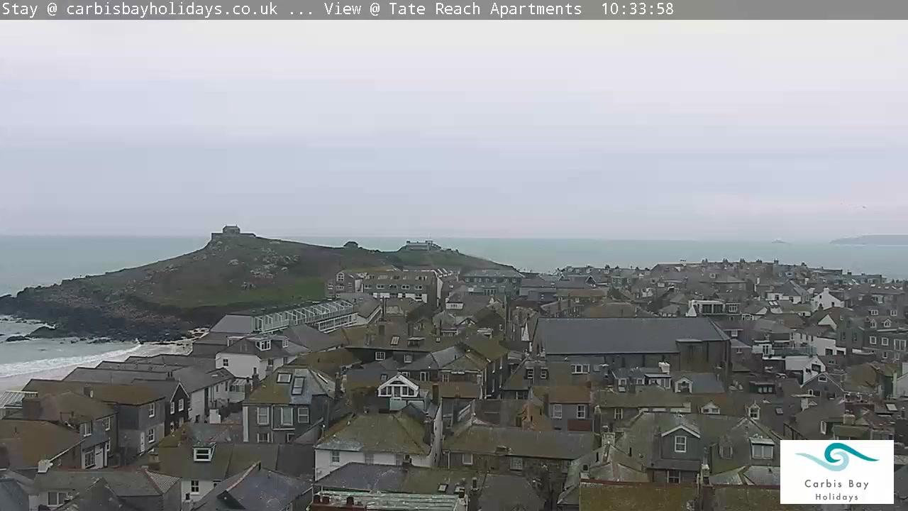 Webcam St Ives: Porthmeor Beach − Godrevy Lighthouse
