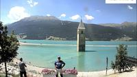 Graun - Curon Venosta: Kirchturm von Altgraun - Reschensee - Dagtid