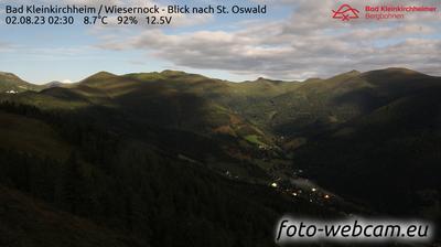 Vista actual o última desde Staudach: Bad Kleinkirchheim − Wiesernock − Blick zum Priedröf