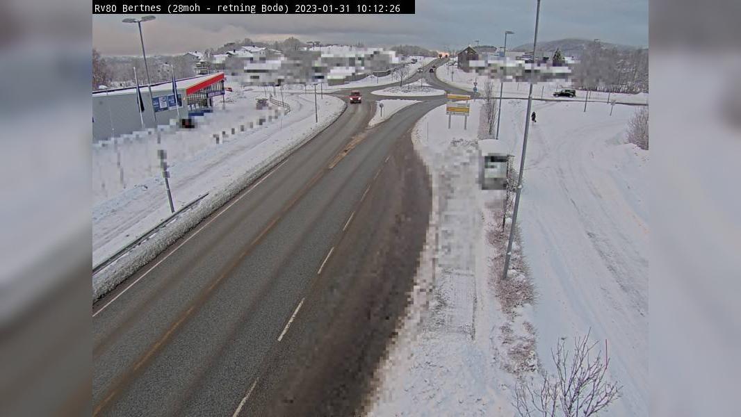 Webcam Bertnes: R80 − Retning mot Bodø, 28 moh
