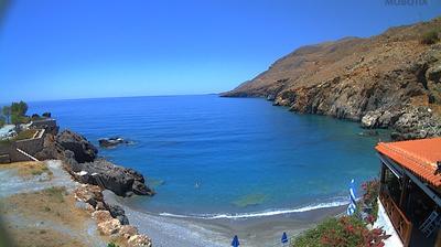 Tageslicht webcam ansicht von Vraskas: Beach Webcam Пляж в Хоре Сфакион юг о.Крит