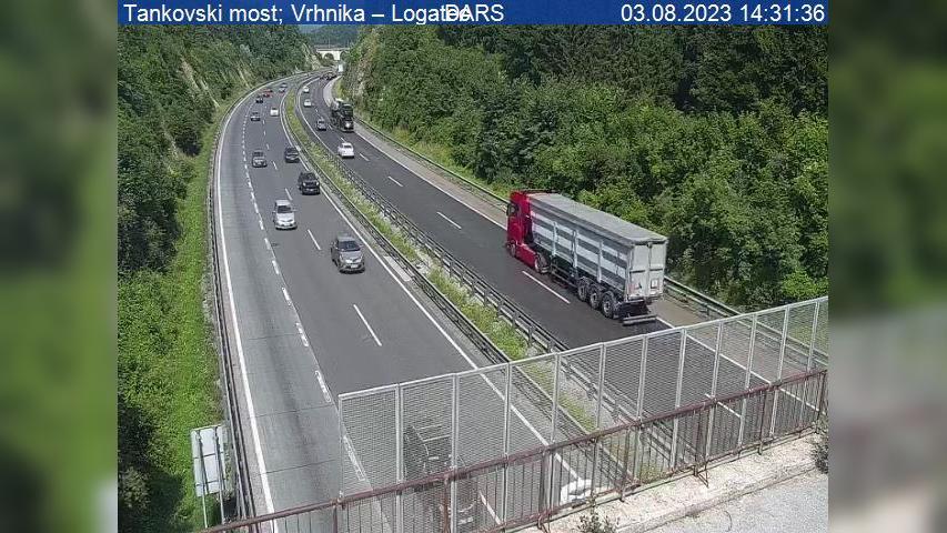 Webcam Mirke: A1/E61/E70, Ljubljana − Koper, nadvoz Štamp