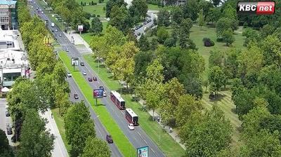 Daylight webcam view from New Belgrade: Belgrade Live − Bulevar Mihaila Pupina − Milentija Popovića