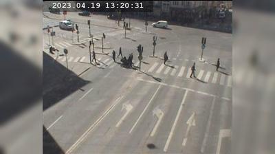 Stockholm: Hornsg-Långholmsg. mot Liljeholmsbadet (Kameran är placerad i korsningen Hornsgatan/Långholmsgatan och är riktad mot Liljeholmsbadet)