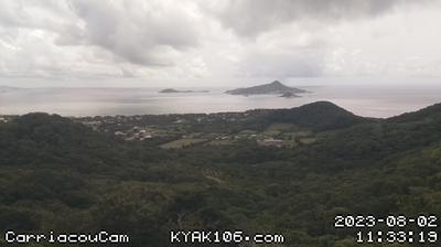 Vue webcam de jour à partir de Belair › North East: from − Carriacou − towards PM & PSV: Atlantic ocean & Caribbean sea