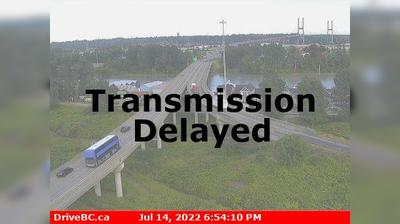 Delta › South: , Hwy , southbound approach to Alex Fraser Bridge, looking south