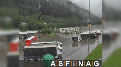 Vista actual o última desde Arnoldstein: A, bei Raststation Zollamt Blickrichtung LKW Stellplatz Km ,