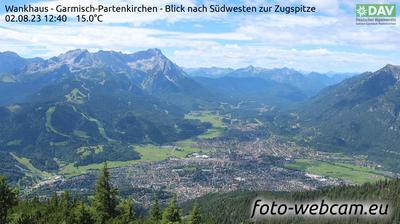 Tageslicht webcam ansicht von Schlattan: Wankhaus − Garmisch Partenkirchen − Blick nach Südwesten zur Zugspitze