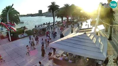 Current or last view from Split: Riva of Croatian Revival