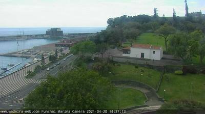 Vista de cámara web de luz diurna desde Santa Luzia: Funchal Harbour Funchal Hafen Madeira