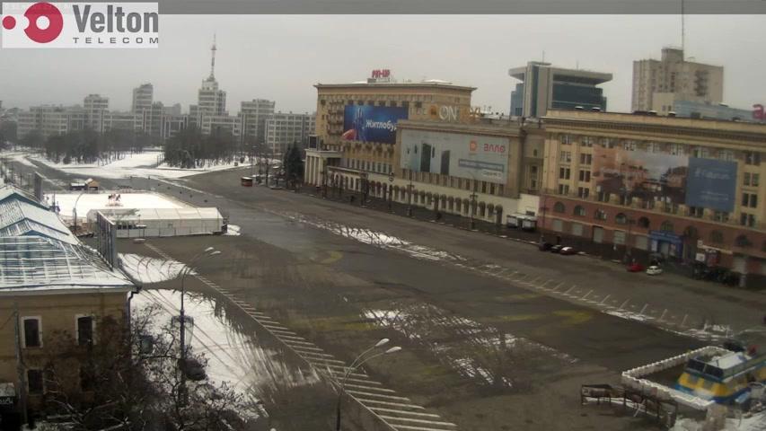 Webcam Kharkiv: вид на площадь Свободы с ул. Сумской