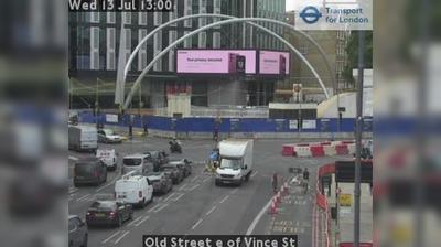 Daylight webcam view from City of London: Old Street e of Vince St