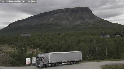 Vista de cámara web de luz diurna desde Enontekiö: Tie21 − Kilpisjarvi − Saanatunturi