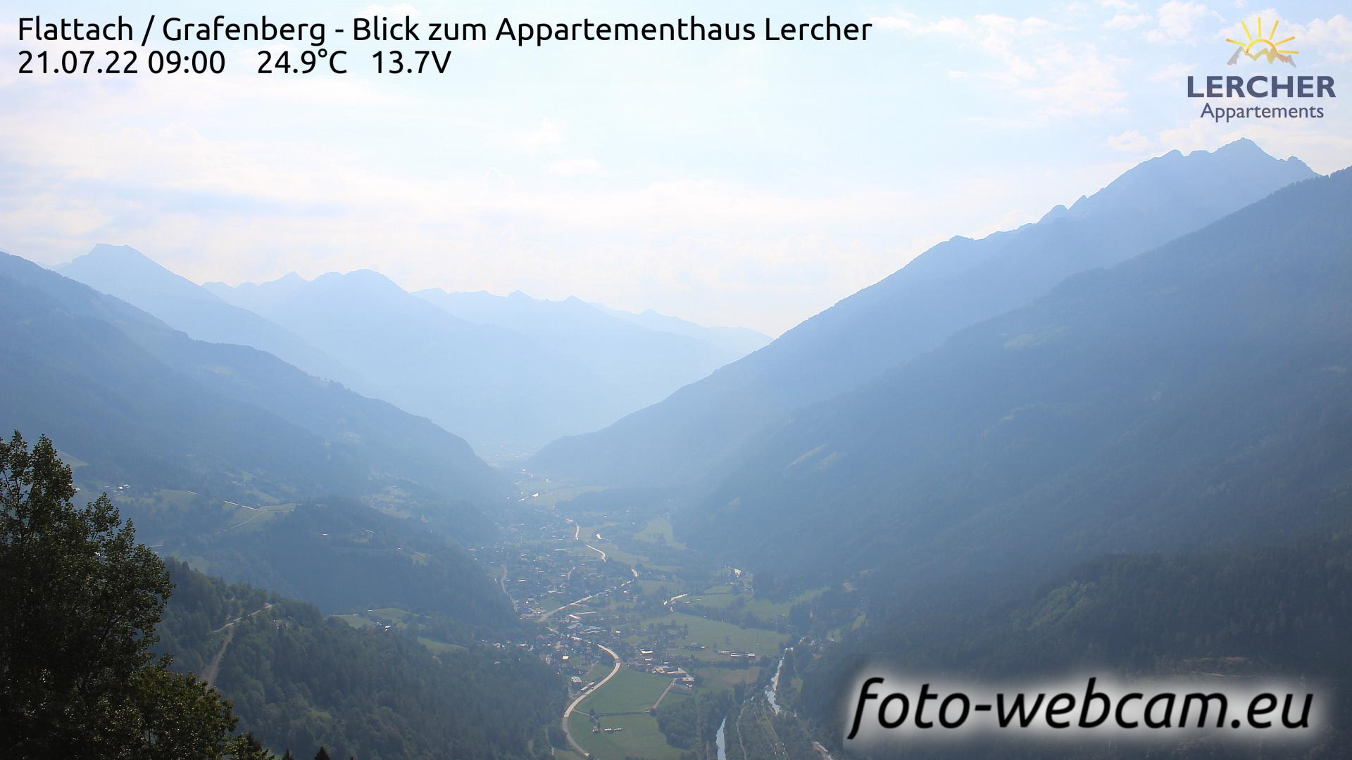 Webcam Flattach: Grafenberg − Blick zum Appartementhaus L