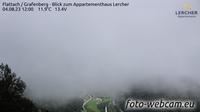 Flattach: Grafenberg - Blick zum Appartementhaus Lercher - Dagtid