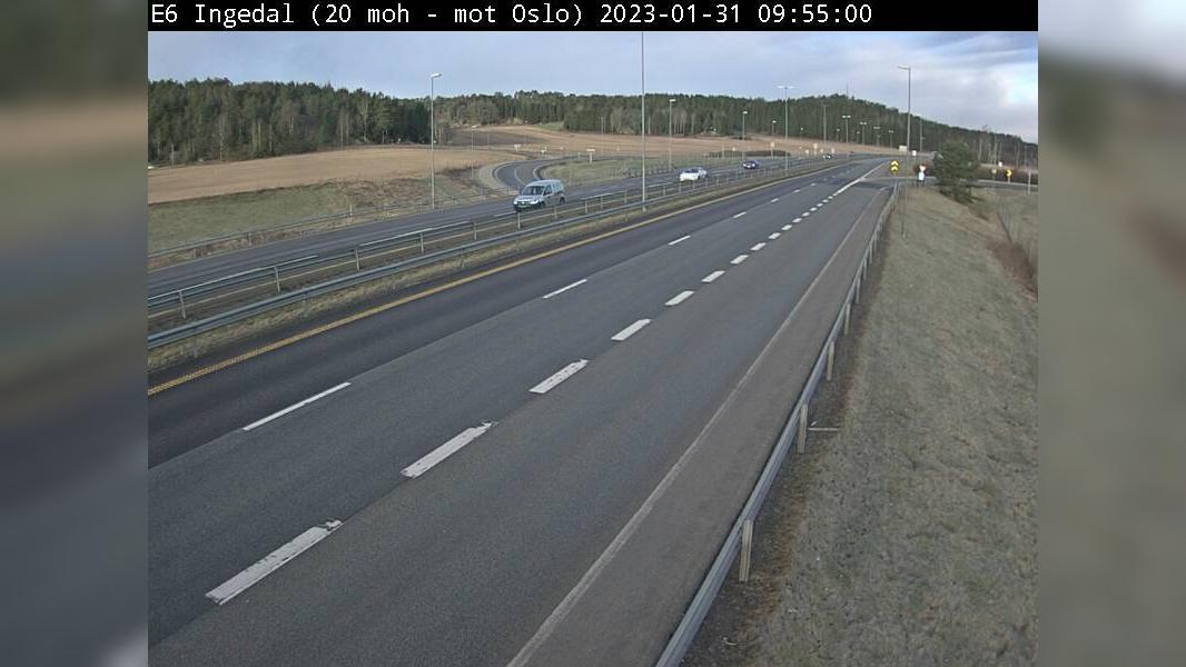 Webcam Ingedal: E6 − Retning mot Oslo