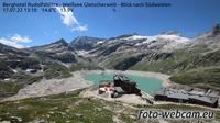 Ultima vista de la luz del día desde Enzingerboden: Berghotel Rudolfshütte − Weißsee Gletscherwelt − Blick nach Südwesten