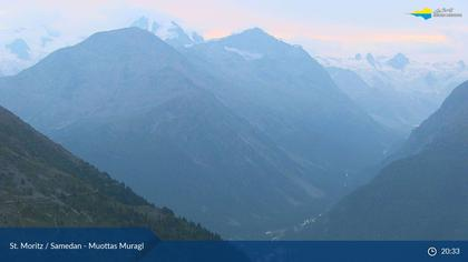 Sankt Moritz: St. Moritz - Muottas Muragl, v.l.n.r. Piz Palü m.ü.M Piz Bernina m.ü.M. Piz Tschierva m.ü.M