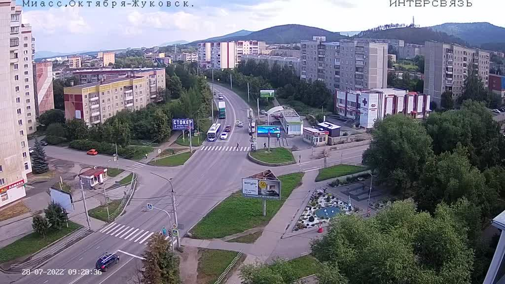 Webcam Miass › North-East: ulitsa Zhukovskogo − prospekt