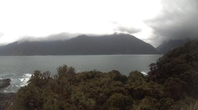 Daylight webcam view from Southland District: St. Anne's Point: Entrance to Milford Sound, NZ