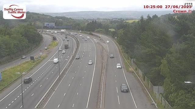 Webkamera Caerleon: Newport − M4 eastbound between junctions