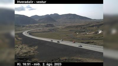 Current or last view from Hveragerdi: Kambar neðst