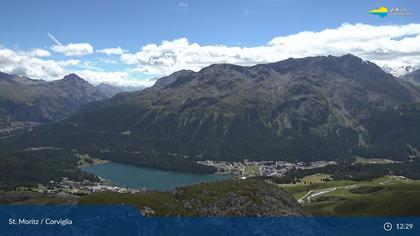 Sankt Moritz: St. Moritz - Corviglia, Blick Richtung St Moritzersee