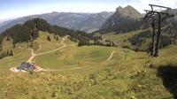 Ultima vista de la luz del día desde Oberdamüls: Mellau Wildgunten − Damüls − Mellau