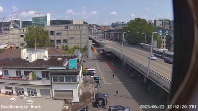 Vista de cámara web de luz diurna desde Zurich › North: Best Carwash − Hardbrücke − Jumbo compact Zürich − Hard One − Abaton − KV