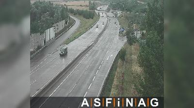 Vue webcam de jour à partir de Wolkersdorf: A05, bei Anschlussstelle Ulrichskirchen, Blickrichtung Schrick − Km 5,30