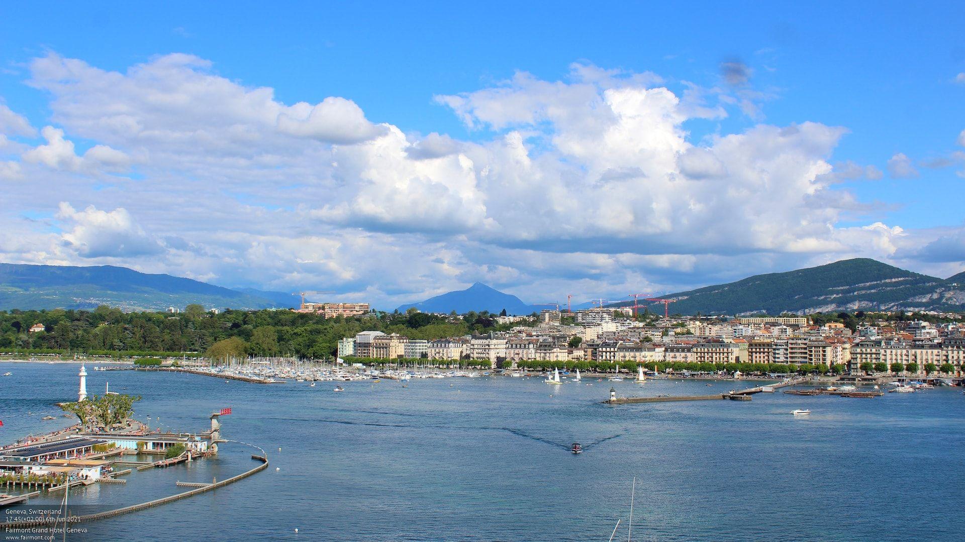 Webcam sur la rade de Genève avec le Jet d'eau.
