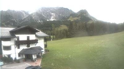 Daylight webcam view from Berg Dienten: Hotel Uebergossene Alm − Hochkoenig