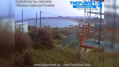 Tageslicht webcam ansicht von Nea Peramos: Kavala − Bay − Παραλία Νέας Περάμου