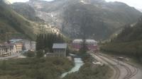Obergoms: Gletsch mit dem Bahnhof der Dampfbahn Furka-Bergstrecke - Overdag