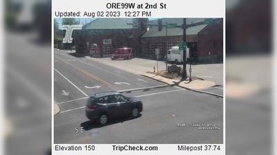 Vista de cámara web de luz diurna desde McMinnville: ORE99W at 2nd St