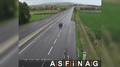 Daylight webcam view from Hirm: S, zwischen Anschlussstelle Wulkaprodersdorf und Knoten Mattersburg, Blickrichtung M