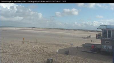Vue webcam de jour à partir de Vrouwenpolder: Strand