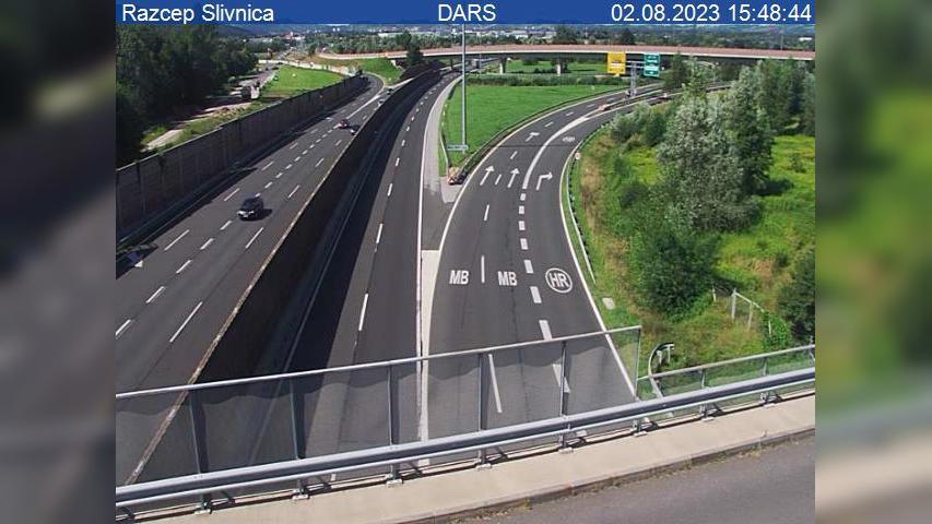 Webcam Slivnica pri Mariboru: A4, Ptuj − Maribor, razcep