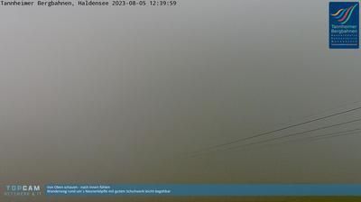 Daylight webcam view from Haldensee: Tannheim, Neunerköpfle Bergstation, Blick auf den