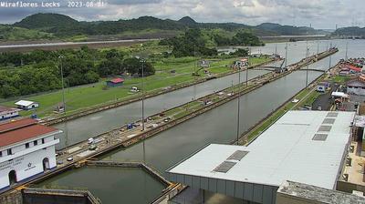 Daylight webcam view from Miraflores Locks: Panama Canal