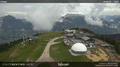 Vue webcam de jour à partir de Tesero: Val di Fiemme − Alpe Cermis Lagorai