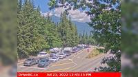 Trout Lake > North: Hwy , near the Upper Arrow Lake ferry landing at Shelter Bay, front of queue, looking north - Day time