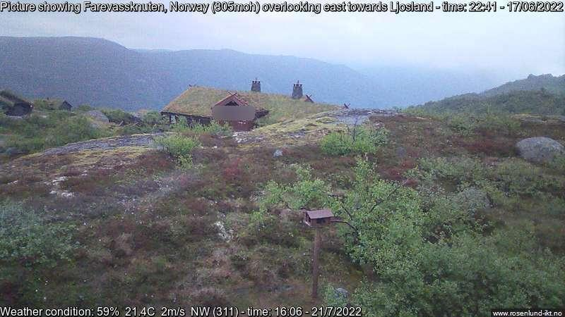 Webcam Ljosland › South-East: Farevassknuten, Åseral